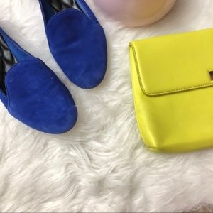 BRIAN ATWOOD Blue Leather Suede Loafer Flats